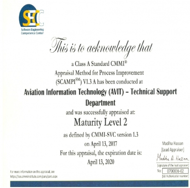 AVIT Appraised at CMMI Maturity Level 2.
